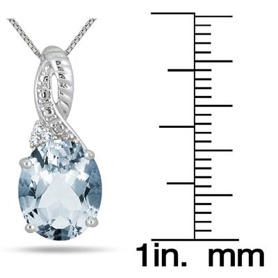 4.25 Carat Oval Aquamarine and Diamond Pendant in .925 Sterling Silver