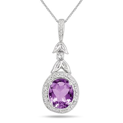 2.75 Carat Amethyst and Diamond Leaf Pendnat in .925 Sterling Silver