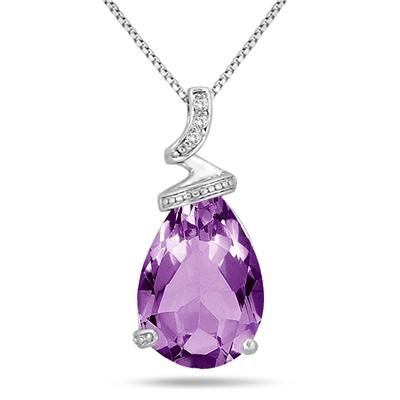 7 Carat Pear Shaped Amethyst & Diamond Pendant in .925 Sterling Silver