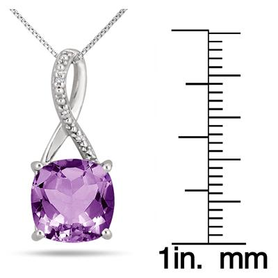 3.50 Carat Cushion Cut Amethyst & Diamond Pendant in .925 Sterling Silver