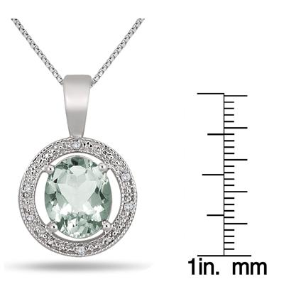 5 Carat Green Amethyst and Diamond Pendant in .925 Sterling Silver