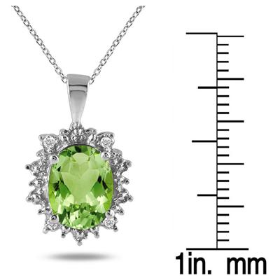 2.50 Carat All Natural Genuine Peridot and Diamond Pendant in .925 Sterling Silver