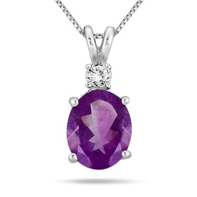 2.40 Carat Oval Shape Amethyst and White Topaz Pendant in .925 Sterling Silver
