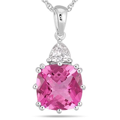 Cushion Cut Lab Created Pink Sapphire and White Sapphire Pendant in .925 Sterling Silver