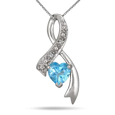 1 Carat Blue Topaz Diamond Heart Pendant