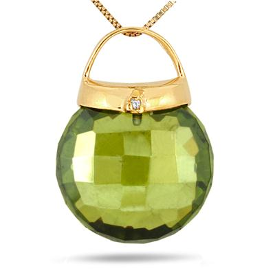 6.50 Carat Peridot and Diamond Purse Pendant in 18K Gold Plated Silver