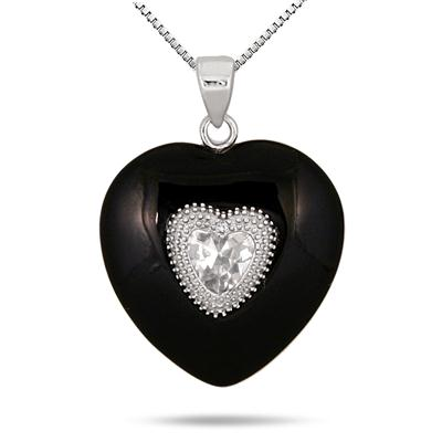 Black Onyx White Topaz and Diamond Heart Pendant in .925 Sterling Silver