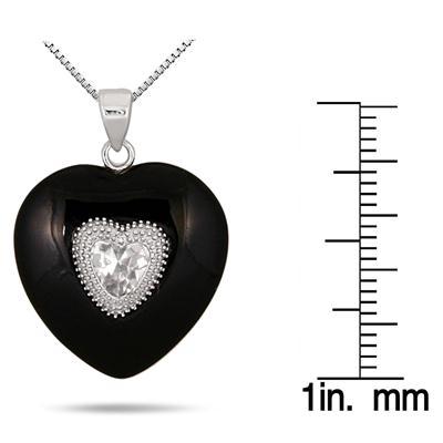 Black Onyx White Topaz and Diamond Heart Pendant in .925 Sterling Silver