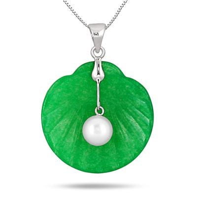 Freshwater Pearl and Jade Seashell Pendant in .925 Sterling Silver