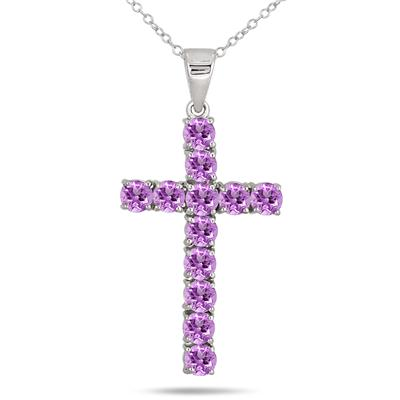 2.40 Carat Amethyst Cross Pendant in .925 Sterling Silver