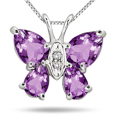 2.10 Carat Amethyst and Diamond Butterfly Pendant in .925 Sterling Silver