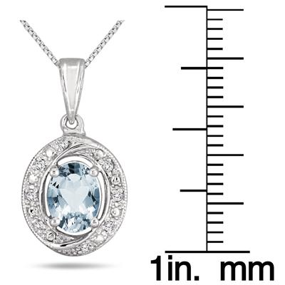 1.45 Carat Aquamarine and Diamond Royal Pendant in .925 Sterling Silver