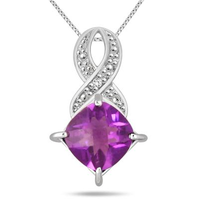 2 Carat Amethyst and Diamond Pendant in .925 Sterling Silver