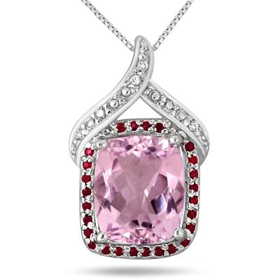 5.20 Carat Pink Amethyst Garnet and Diamond Pendant in .925 Sterling Silver