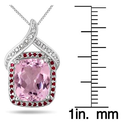 5.20 Carat Pink Amethyst Garnet and Diamond Pendant in .925 Sterling Silver