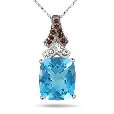 6.00 Carat Blue Topaz Diamond Pendant
