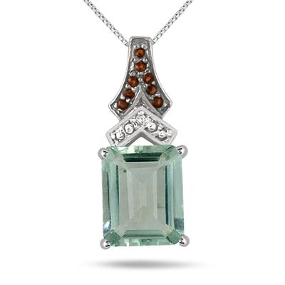 6.00 Carat Green Amethyst Smokey Quartz and Diamond Pendant in .925 Sterling Silver