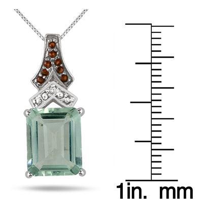 6.00 Carat Green Amethyst Smokey Quartz and Diamond Pendant in .925 Sterling Silver