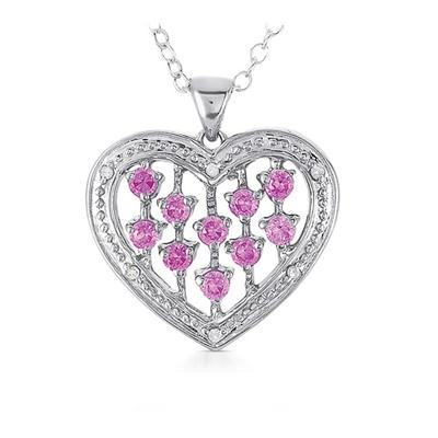 Created Pink Sapphire and Diamond Heart Pendant in .925 Sterling Silver