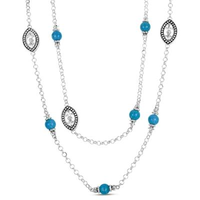 Fleur De Lis Turquoise Bead Necklace in .925 Sterling Silver