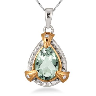 1.80 Carat Pear Shape Green Amethyst and Diamond Pendant in 14K Yellow Gold Plated Sterling Silver