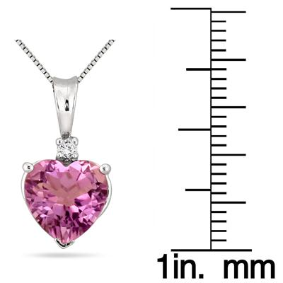2.50 Carat Heart Shape Amethyst and Diamond Pendant in .925 Sterling Silver