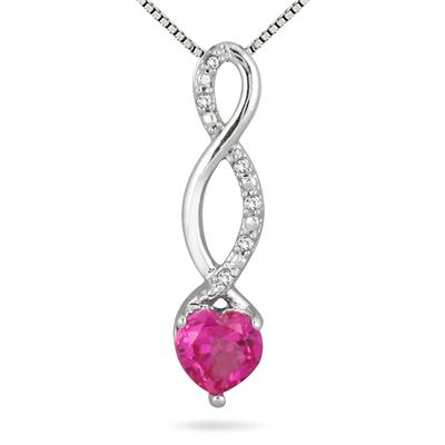 Heart Shape Lab Created Pink Sapphire and Diamond Pendant in .925 sterling Silver