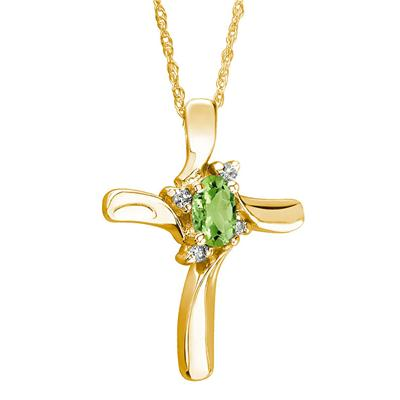 Peridot Cross Diamond Pendant 10k Yellow Gold