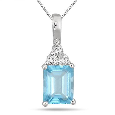 3 Carat Emerald Cut Blue Topaz and White Topaz Pendant in .925 Sterling Silver