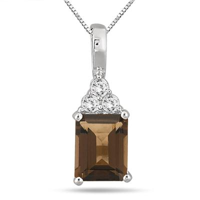 3 Carat Emerald Cut Smokey Quartz and White Topaz Pendant in .925 Sterling Silver