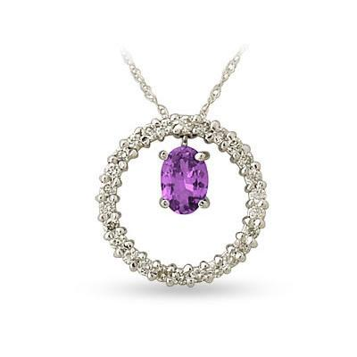 14kt White Gold Diamond and Amethyst Drop Circle Pendant