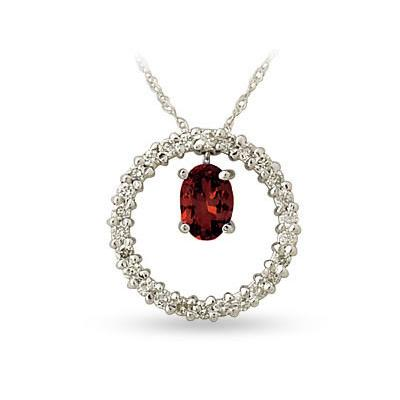 14kt White Gold Diamond and Garnet Drop Circle Pendant