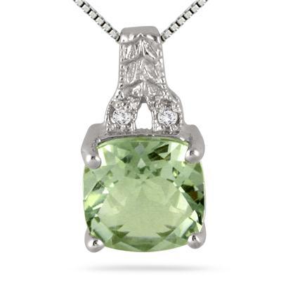2 Carat Green and Diamond Pendant