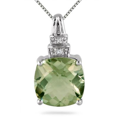 3.40 Carat Cushion Cut Green Amethyst and Diamond Pendant in .925 Sterling Silver