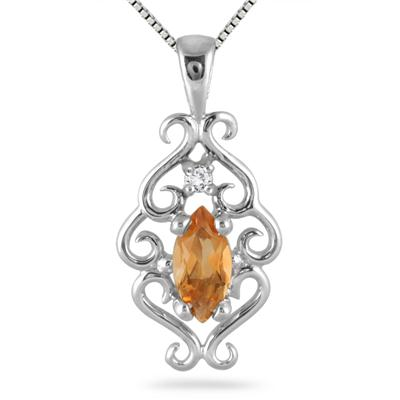 Marquise Cut Citrine Diamond Pendant