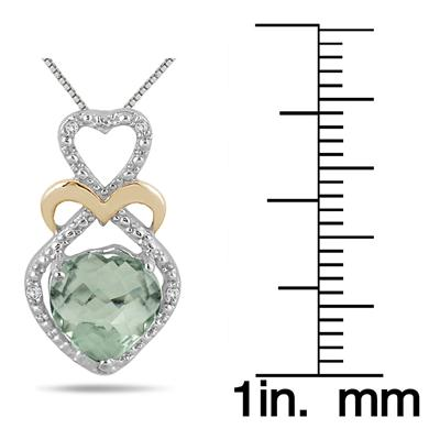 1.75 Carat Heart Shape Green Amethyst and Diamond Pendant in 18K Yellow Gold Plated Sterling Silver