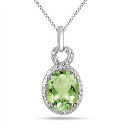 1.70 Carat Peridot and Diamond Pendant in .925 Sterling Silver