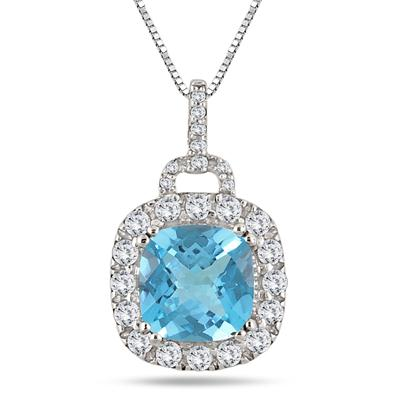 2.75 Carat Cushion Cut Blue Topaz and Diamond Pendant in .925 Sterling Silver