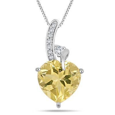 3.25 Carat TW Heart Shape Lemon Quartz and Diamond Pendant in .925 Sterling Silver