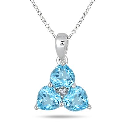 3/4 Carat 3 Stone Blue Topaz and Diamond Pendant in 10K White Gold