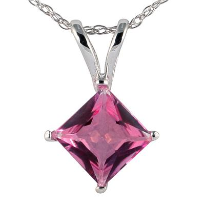 Princess Cut Pink Topaz Pendant in 14k White Gold