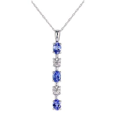 10k White Gold Diamond and Tanzanite Drop Pendant