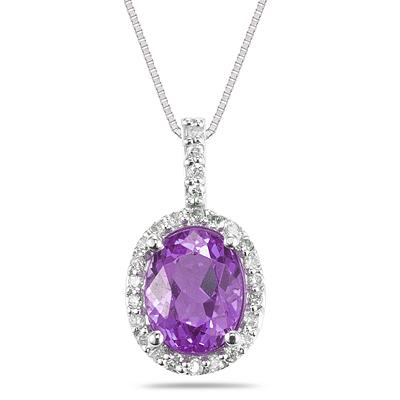 14K White Gold Mesmerizing Amethyst Diamond Comforted Pendant