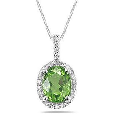 Peridot and Diamond Regal Pendant in 14K White Gold