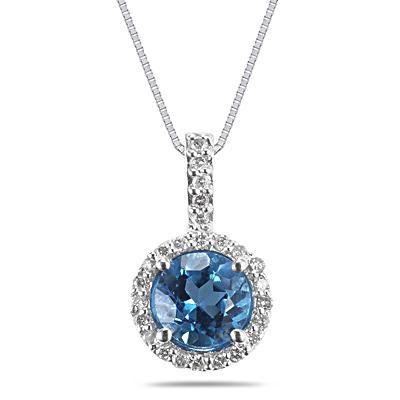 Blue Topaz and Diamond Pendant in 14K White Gold