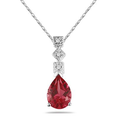 1 Carat Garnet and Diamond Antique Pendant in 14K White Gold
