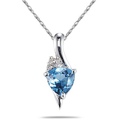 Trillion Shaped Blue Topaz and Diamond Pendant in 14K White Gold