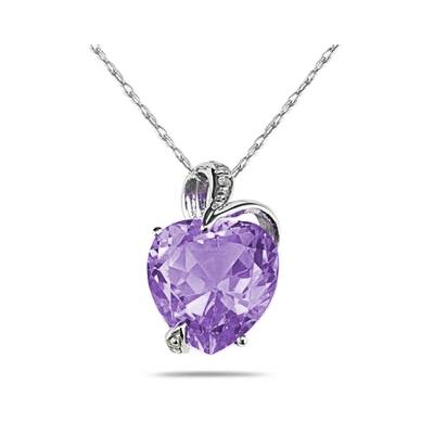 3.50 Carat Natural Febrauary Birthstone Amethyst and Diamond Heart Pendant in 14K White Gold