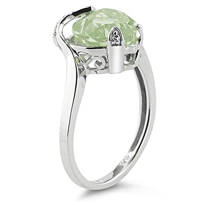 Heart Shaped Green Amethyst and Diamond Curve Ring in 14K White Gold