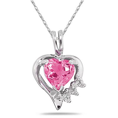Heart Shape Pink Topaz & Diamond Pendant in White Gold